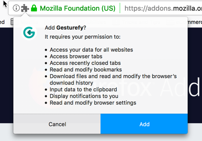 Example of the permissions messages from the Gesturefy extension