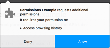 Example of an additional or runtime permission request message