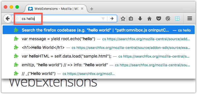 Example showing the result of the  WebExtension's customization of the address bar suggestions.