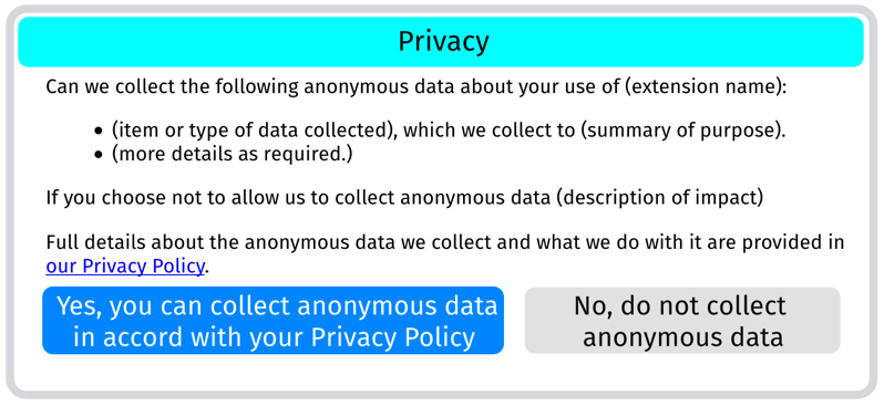Mockup of a prompt that could be used when an extension requires consent for processing technical data only.
