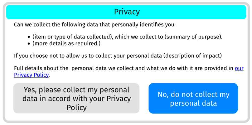 Mockup of a prompt that could be used when an extension requires consent for processing personal data only.